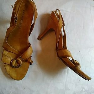 Kenneth Cole tan leather strappy heels-sz 7 1/2